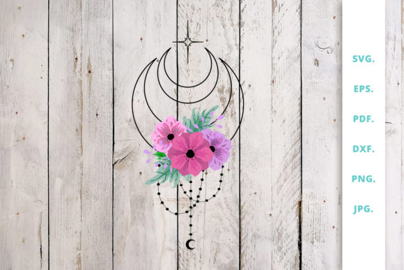 Download Free Floral Crescent Moon Graphic By Sintegra Creative Fabrica for Cricut Explore, Silhouette and other cutting machines.