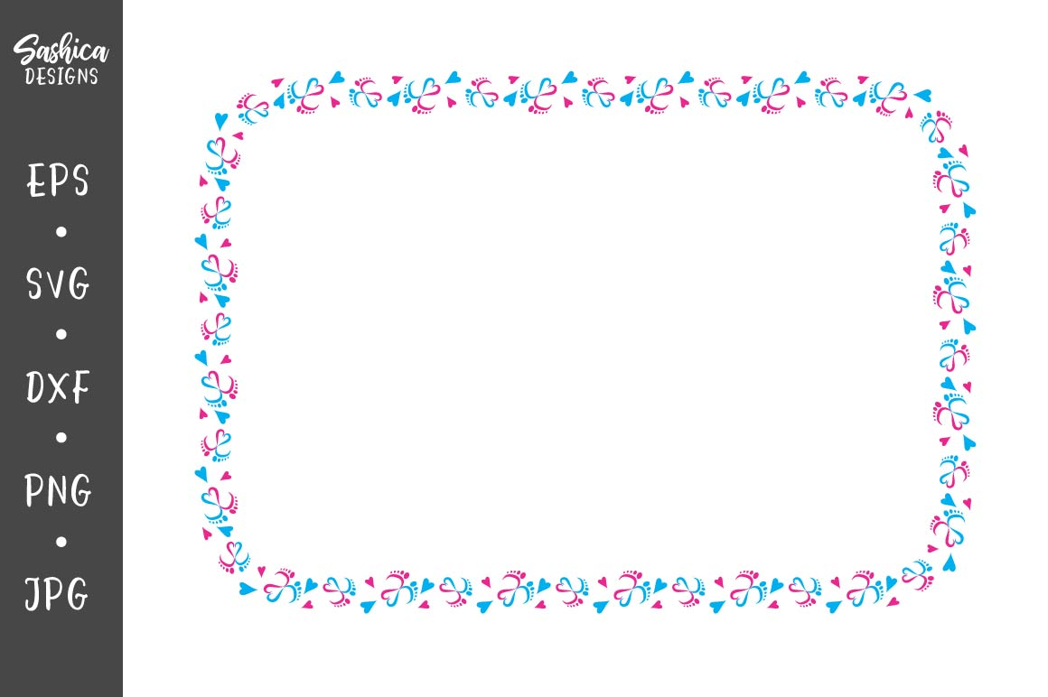 Download Free Frame With Baby Feet And Heart Graphic By Sashica Designs for Cricut Explore, Silhouette and other cutting machines.
