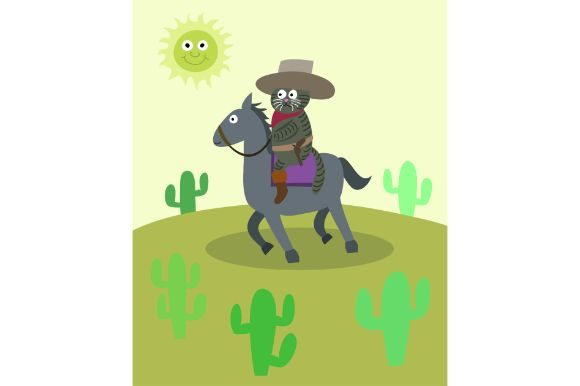 Download Free Funny Cowboy Cat Cartoon Vector Art Graphic By Firdausm601 SVG Cut Files