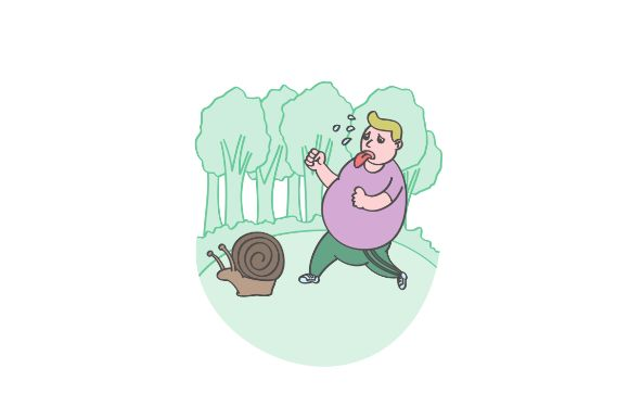 Download Free Funny Fat Man Jogging With Snail Graphic By Firdausm601 for Cricut Explore, Silhouette and other cutting machines.