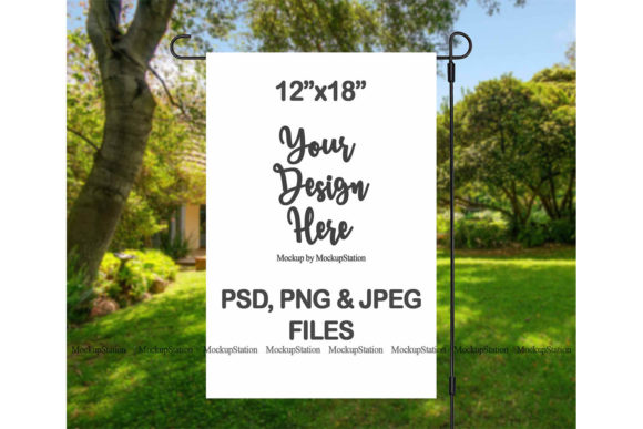 Print on Demand: Garden Flag Mockup   Graphic Product Mockups By Mockup Station