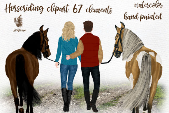 Couples and Horses Graphic Illustrations By LeCoqDesign