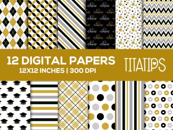 Graduation Digital Papers, Gold & Black Graphic Patterns By TitaTips