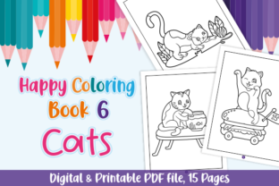 Print on Demand: Happy Coloring Book 6 - Cats Graphic Coloring Pages & Books Kids By Momentos Crafter