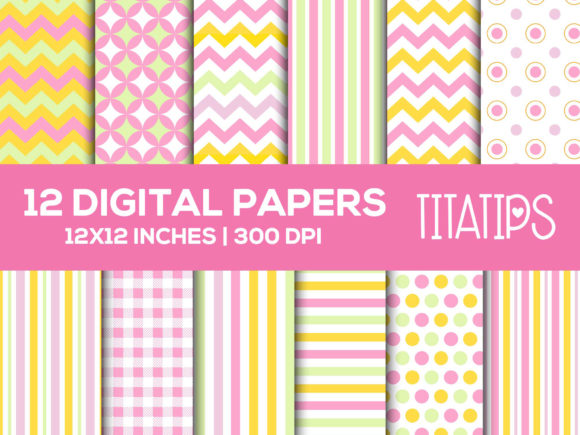 Happy Mother's Day Digital Papers Set Graphic Patterns By TitaTips