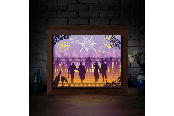 Download Free Happy New Year 3d Paper Cutting Light Box Graphic By for Cricut Explore, Silhouette and other cutting machines.