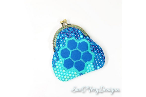 Hexi Flower Coin Purse in the Hoop Accessories Embroidery Design By Sue O'Very Designs