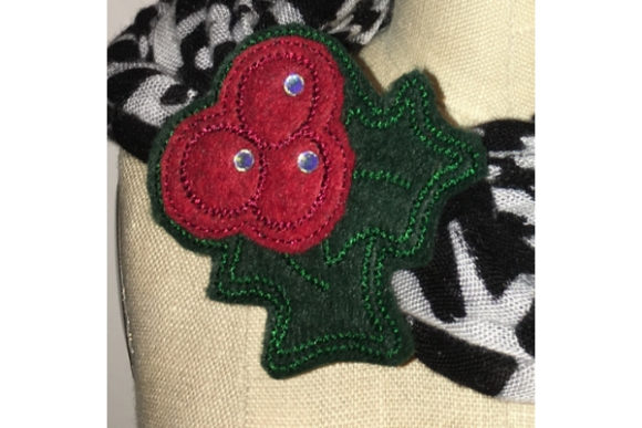 Holly Jolly Scarf Cuff Accessories Embroidery Design By Sue O'Very Designs