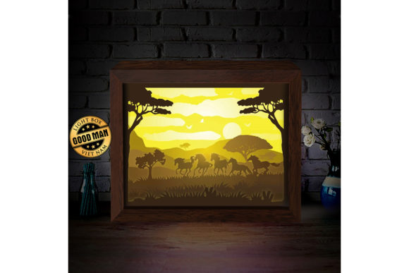 Horse 1 3D Paper Cutting Light Box Graphic 3D Shadow Box By LightBoxGoodMan