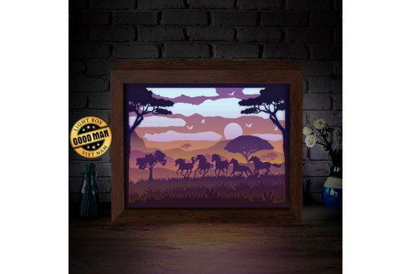 Horse 1 3d Paper Cutting Light Box Graphic By Lightboxgoodman