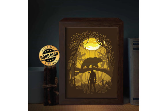 Hunting 1 3D Paper Cutting Light Box Graphic 3D Shadow Box By LightBoxGoodMan