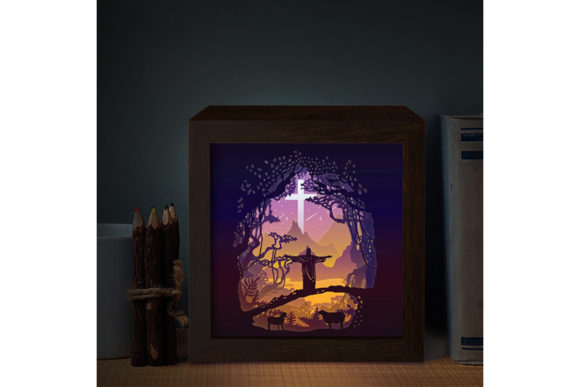 Jesus 1 Square 3d Paper Cutting Light Box Graphic By
