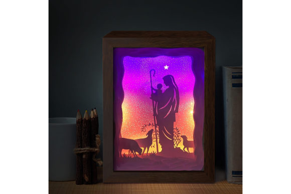 Jesus 2 3D Paper Cutting Light Box Graphic 3D Shadow Box By LightBoxGoodMan