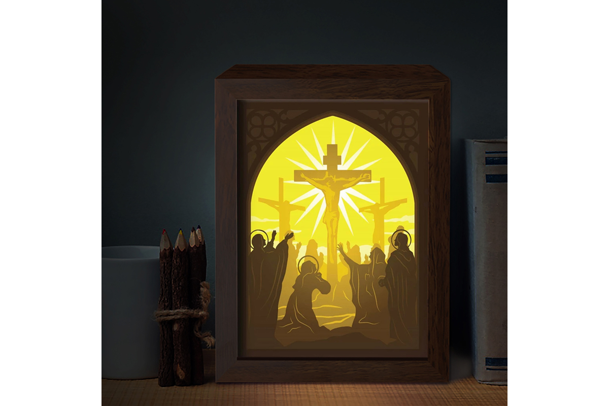 Download Free Jesus 7 3d Paper Cutting Light Box Graphic By Lightboxgoodman Creative Fabrica for Cricut Explore, Silhouette and other cutting machines.