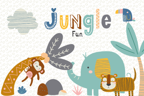 Download Free Jungle Fun Clipart Graphic By Poppymoondesign Creative Fabrica for Cricut Explore, Silhouette and other cutting machines.