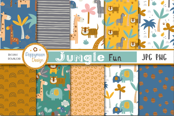 Print on Demand: Jungle Fun Paper Graphic Patterns By poppymoondesign