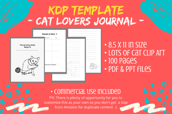 Download Free Kdp Interior Cat Lovers Journal Diary Graphic By Tomboy SVG Cut Files