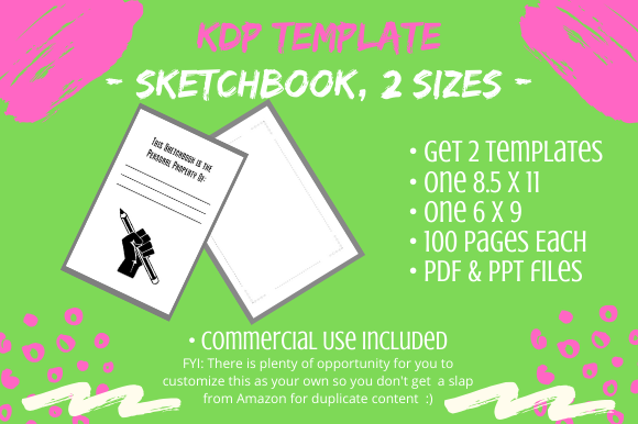 Download Free Kdp Template 2 Sketchbooks 2 Sizes Graphic By Tomboy Designs for Cricut Explore, Silhouette and other cutting machines.