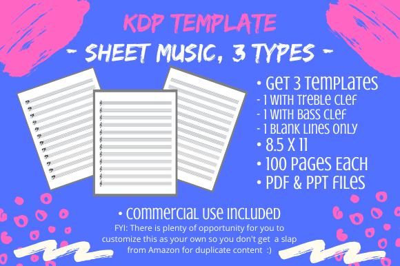 Download Free Kdp Template Sheet Music Books 3 Types Graphic By Tomboy for Cricut Explore, Silhouette and other cutting machines.