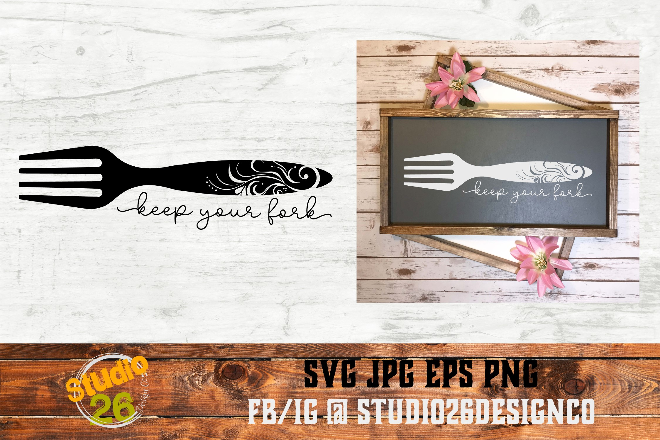 Download Free Keep Your Fork Graphic By Studio 26 Design Co Creative Fabrica for Cricut Explore, Silhouette and other cutting machines.