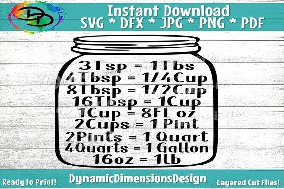 Download Free Kitchen Mason Jar Kitchen Meas Grafico Por Dynamicdimensions for Cricut Explore, Silhouette and other cutting machines.