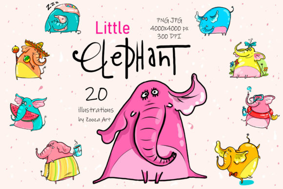 Print on Demand: Little Elephant - 20 Illustrations Graphic Illustrations By Zooza Art