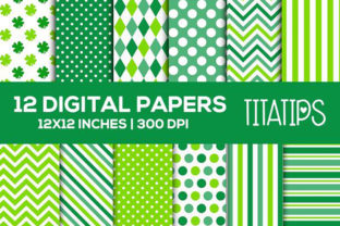 Lucky St. Patrick's Day Digital Paper Graphic Patterns By TitaTips