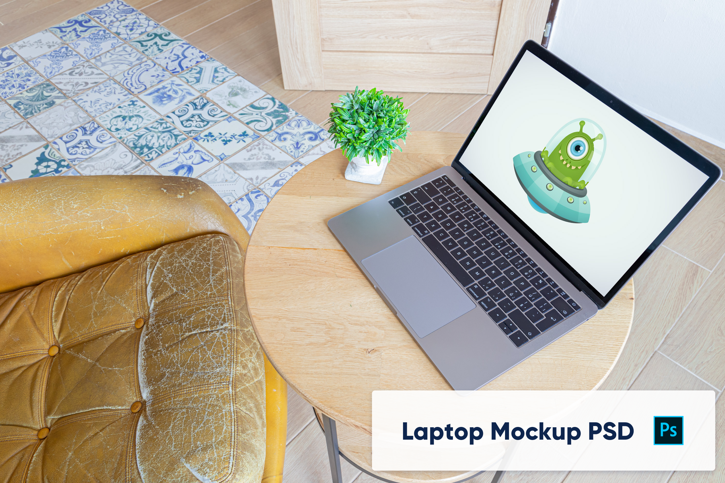 Download Free Macbook On Wooden Desk Mockup Graphic By Marian Kadlec Creative Fabrica for Cricut Explore, Silhouette and other cutting machines.