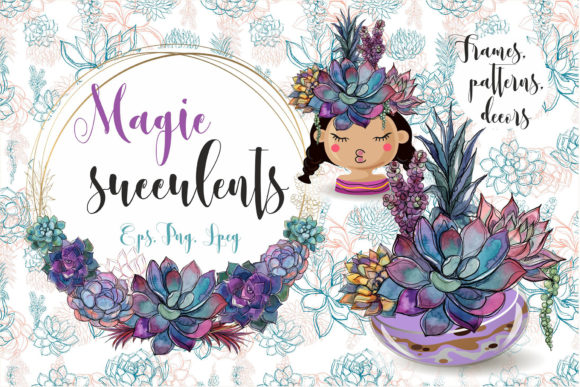 Magic Succulents Graphic Illustrations By grigaola