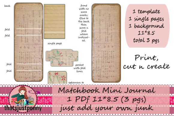 Matchbook Mini Journal Printable Grafik Druck-Templates von thatsjustpenny