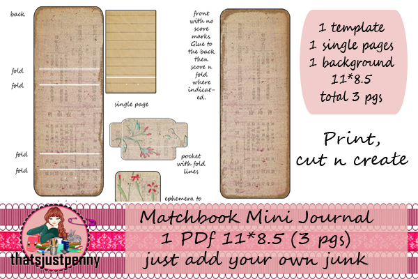 Download Free Matchbook Mini Journal Printable Graphic By Thatsjustpenny for Cricut Explore, Silhouette and other cutting machines.