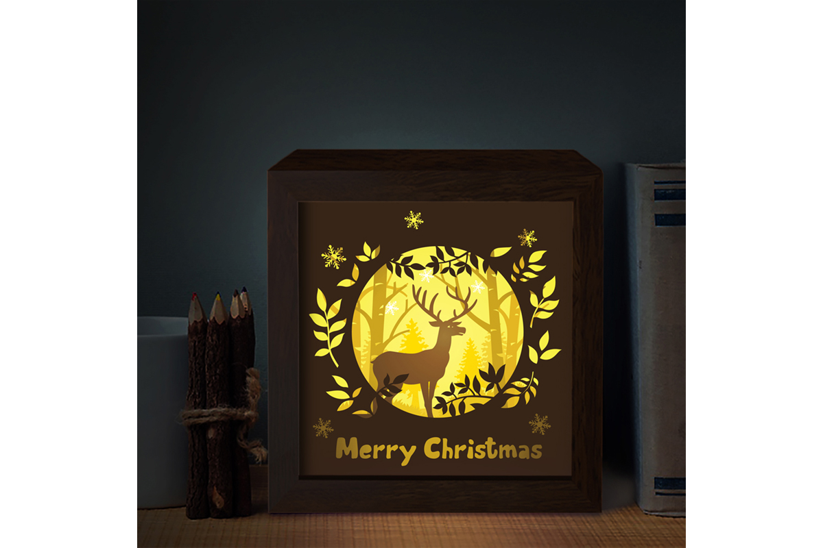 Download Free Merry Christmas Deer 3d Paper Light Box Graphic By Lightboxgoodman Creative Fabrica for Cricut Explore, Silhouette and other cutting machines.
