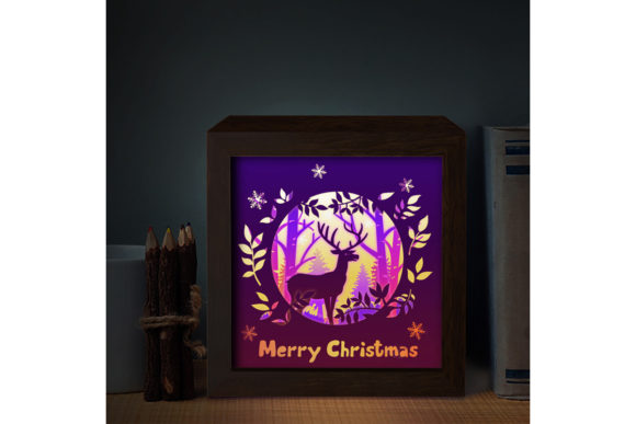 Download Free Merry Christmas Deer 3d Paper Light Box Grafico Por for Cricut Explore, Silhouette and other cutting machines.