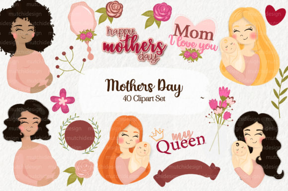 Print on Demand: Mothers Day Cliparts Set Graphic Illustrations By Mutchi Design