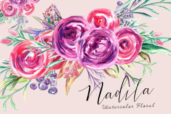 Nadila Watercolor Florals Graphic Illustrations By Anissa Anwar