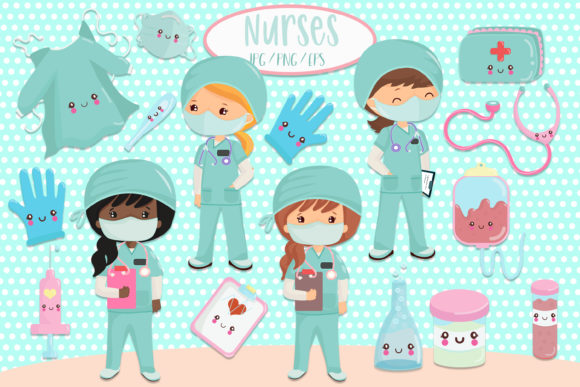 Nurses Clipart Graphic Illustrations By CuteLittleClipart