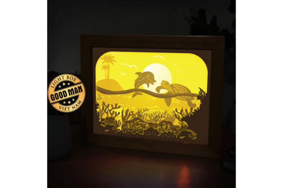 Ocean 1 3D Paper Cutting Light Box 2 Graphic 3D Shadow Box By LightBoxGoodMan