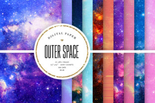 Print on Demand: Outer Space Backgrounds - Mix Papers Graphic Backgrounds By Sabina Leja
