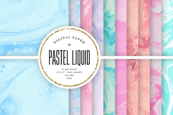 Print on Demand: Pastel Liquid Painting Backgrounds Graphic Backgrounds By Sabina Leja