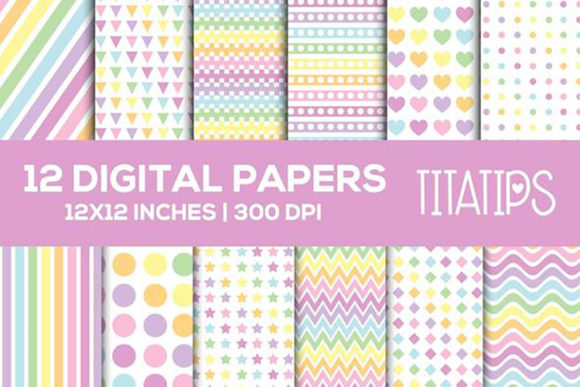 Download Free Pastel Rainbow Digital Papers Set Graphic By Titatips Creative for Cricut Explore, Silhouette and other cutting machines.