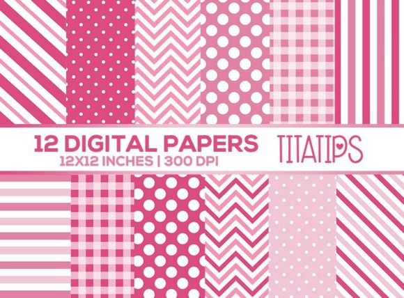 Pink and White Digital Papers Set Graphic Patterns By TitaTips