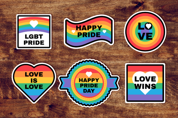 Download Free Pride Day Rainbow Stickers Set Graphic By Barsrsind Creative for Cricut Explore, Silhouette and other cutting machines.