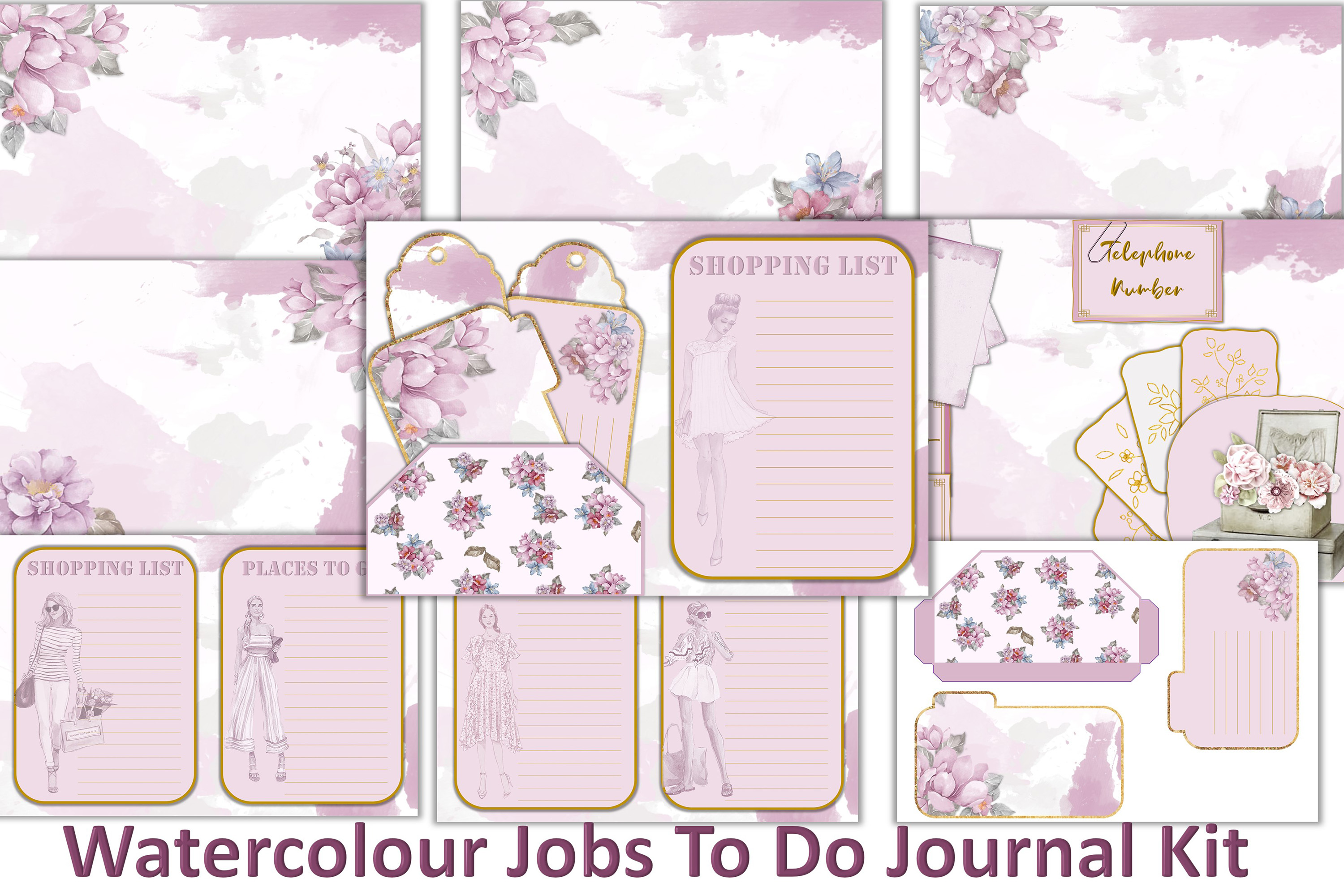 Printable Junk Journal Kit Free Ephemera Graphic By The Paper Princess Creative Fabrica