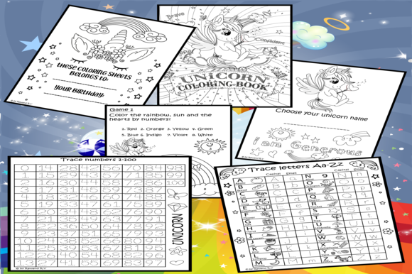 Printable Unicorn Coloring Pages for Children Graphic Teaching Materials By kindle.pfyr
