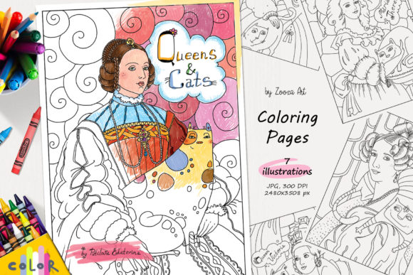 Print on Demand: Queens and Cats - Coloring Pages Graphic Coloring Pages & Books Kids By Zooza Art