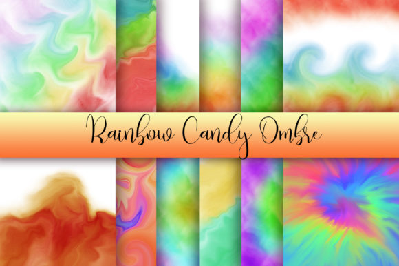 Rainbow Candy Ombre Background Graphic Backgrounds By PinkPearly