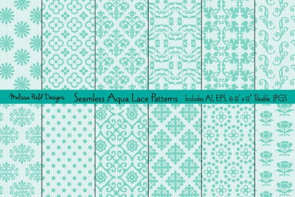 Download Free Seamless Aqua Lace Patterns Graphic By Melissa Held Designs for Cricut Explore, Silhouette and other cutting machines.