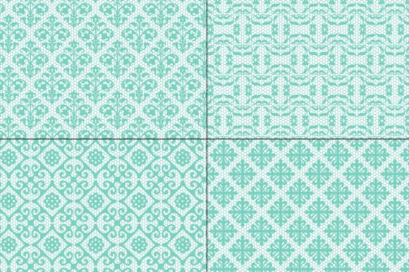 Seamless Aqua Lace Patterns Graphic By Melissa Held Designs