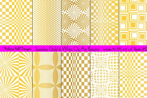 Download Free Seamless Gold Op Art Patterns Graphic By Melissa Held Designs for Cricut Explore, Silhouette and other cutting machines.