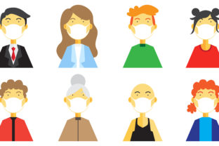 Download Free Set Of People Wearing Medical Mask Graphic By Be Young for Cricut Explore, Silhouette and other cutting machines.